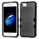 Insten Brushed TUFF Hybrid Hard PC Phone Shockproof Case Cover for Apple iPhone 7/ 8 / 6s / 6, Black