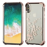 Insten Spring Flowers TPU Rubber Candy Skin Case Cover for Apple iPhone X - Clear/Rose Gold