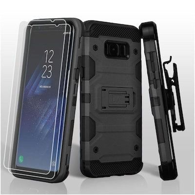 Insten 3-in-1 Storm Tank Hybrid Holster Case with 2x Protectors For Samsung Galaxy S8+ S8 Plus - Black