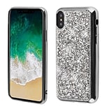 Insten Rhinestone Diamond Bling TPU Rubber Candy Skin Case Cover for Apple iPhone X - Silver