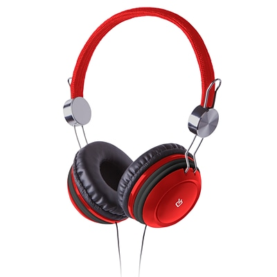 Over-Ear Headphones 3.5mm with Memory Foam Earpads and Adjustable Headband - Red