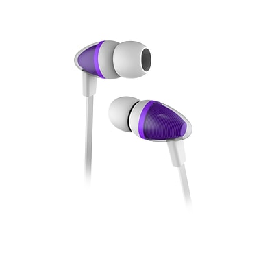 Wired Stereo 3.5mm Earbuds with Integrated Mic and Remote for iPhone iPod Samsung Galaxy HTC - Purple