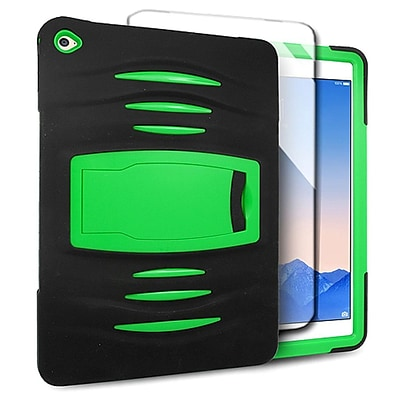Insten Dual Layer [Shock Absorbing] Hybrid Stand Rubber Silicone/Plastic Case Cover For Apple iPad Air 2 - Green/Black