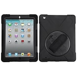 Insten Rotatable Hard Stand Protective Case Cover (with Wristband) For Apple iPad 2 / 3 / 4 - Black