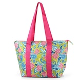 Zodaca Large Insulated Lunch Bag Cooler Picnic Travel Food Box Women Tote Carry Bags - Green/Pink Pa