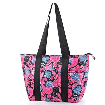 Zodaca Large Insulated Lunch Bag Cooler Picnic Travel Food Box Women Tote Carry Bags - Pink/Black Paisley