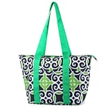 Zodaca Large Insulated Lunch Bag Cooler Picnic Travel Food Box Women Tote Carry Bags - Navy/Green Sw
