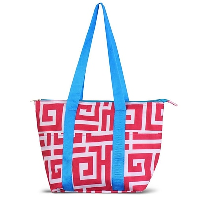 Zodaca Large Reusable Insulated Leak Resistant Lunch Tote Carry Organizer Zip Cooler Bag - Pink Greek Key with Blue Trim