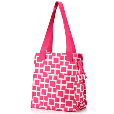 Zodaca Insulated Lunch Bag Women Tote Cooler Picnic Travel Food Box Zipper Carry Bags for Camping - Pink/White Geometric