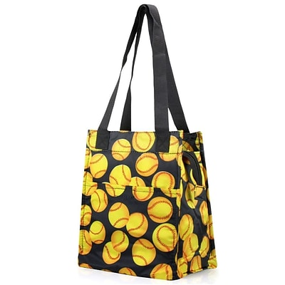 Zodaca Insulated Lunch Bag Women Tote Cooler Picnic Travel Food Box Zipper Carry Bags for Camping - Yellow Softball