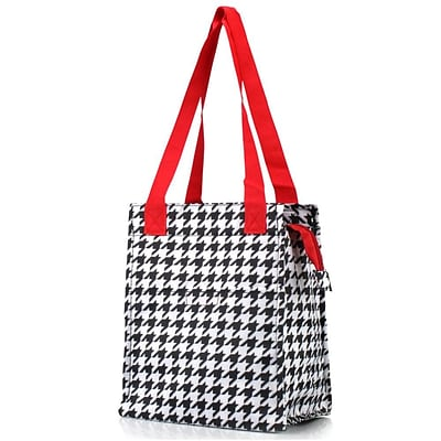 Zodaca Insulated Lunch Bag Women Tote Cooler Picnic Travel Food Box Zipper Carry Bags for Camping - Red Houndstooth