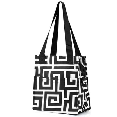 Zodaca Insulated Lunch Bag Women Tote Cooler Picnic Travel Food Box Zipper Carry Bags for Camping - Black Greek Key