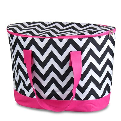 Zodaca Large Pinic Travel Outdoor Camping Party Food Drink Water Zip Cooler Bag - Black/White Chevron with Pink Trim