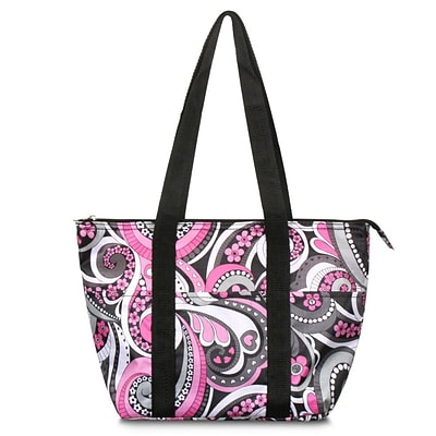 Zodaca Fashion Large Insulated Zip Top Lunch Bag Women Tote Cooler Picnic Travel Food Box Carry Bags - Purple Paisley