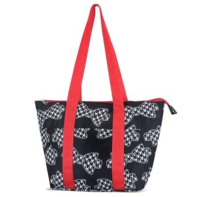 Zodaca Large Reusable Insulated Leak Resistant Lunch Tote Carry Organizer Zip Cooler Storage Bag - Hounds Tooth Bows