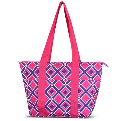 Zodaca Large Reusable Insulated Leak Resistant Lunch Tote Carry Organizer Zip Cooler Storage Bag - Times Square Pink