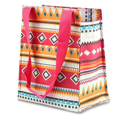 Zodaca Leak Resistant Reusable Insulated Lunch Tote Carry Storage Organizer Zip Cooler Bag - Aztec with Pink Trim