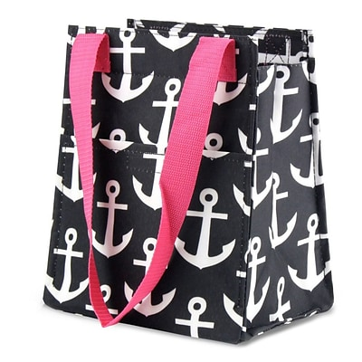Zodaca Leak Resistant Reusable Insulated Lunch Tote Carry Organizer Zip Cooler Bag - Black Anchors with Pink Trim