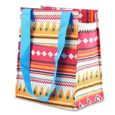 Zodaca Leak Resistant Reusable Insulated Lunch Tote Carry Storage Organizer Zip Cooler Bag - Aztec with Blue Trim