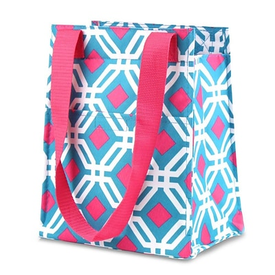 Zodaca Leak Resistant Reusable Insulated Lunch Tote Carry Storage Organizer Zip Cooler Bag - Blue Graphic