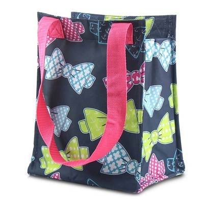 Zodaca Leak Resistant Reusable Insulated Lunch Tote Carry Storage Organizer Zip Cooler Bag - Colorful Bows