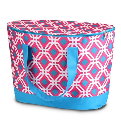 Zodaca Large Pinic Travel Outdoor Camping Party Food Drink Water Storage Zip Cooler Bag - Pink Graphic