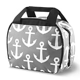 Zodaca Small Reusable Insulated Work School Lunch Tote Carry Storage Zipper Cooler Bag - Gray Anchor