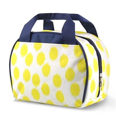 Zodaca Small Reusable Insulated Work School Lunch Tote Carry Storage Zipper Cooler Bag - Yellow Dots with Blue Trim
