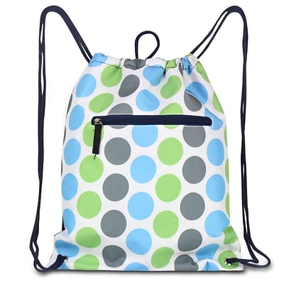 Zodaca Lightweight Sling Drawstring Bag Foldable Backpack Sports Gym Fitness, Blue/Green Dots on Black Trim