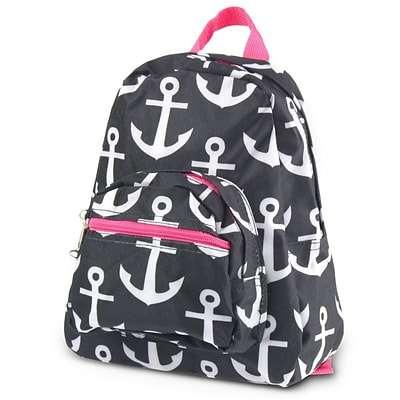 Zodaca Stylish Kids Small Backpack Outdoor Shoulder School Zipper Bag Adjustable Strap - Black Anchors with Pink Trim