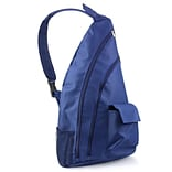 Zodaca Padded Cross Body Bag Shoulder Travel Camping Hiking Sling Backpack Zipper Bag - Navy Blue