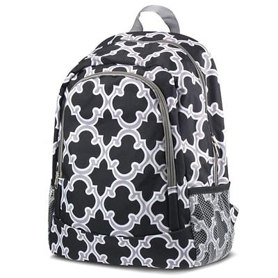 Zodaca Outdoor Camping Hiking Large Travel Sport Backpack Shoulder School Bag - Quatrefoil Black