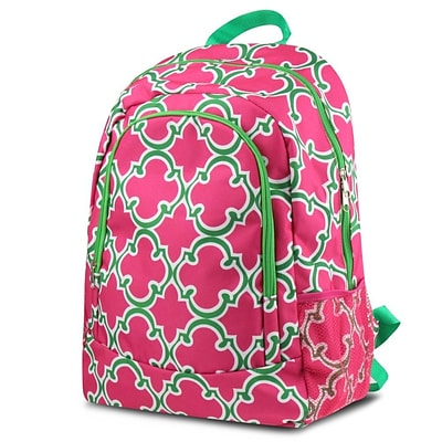 Zodaca Outdoor Camping Hiking Large Travel Sport Backpack Shoulder School Bag - Quatrefoil Pink