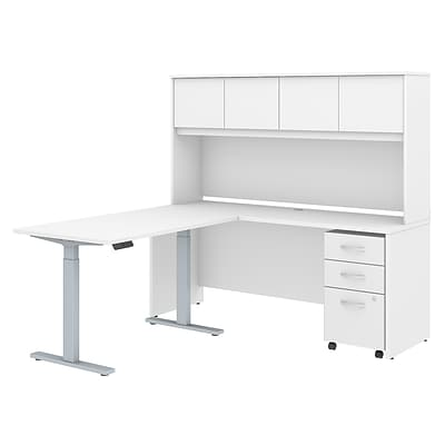 Bush Business Furniture Studio C 72W x 24D L Shaped Desk with Hutch, 48W Height Adjustable, White (STC018WH)