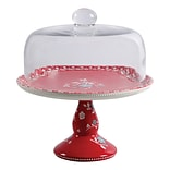General Store Cherry Diner 10.25 Cake Stand with Glass Dome Red (116801.02)