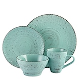 Elama Malibu Waves 16-Piece Stoneware Dinnerware Set Turquoise ELM-MALIBU-WAVES