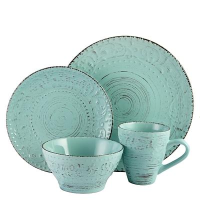 Elama Malibu Waves 16-Piece Stoneware Dinnerware Set Turquoise ELM-MALIBU-WAVES  sc 1 st  Quill.com & Elama Malibu Waves 16-Piece Stoneware Dinnerware Set Turquoise ELM ...