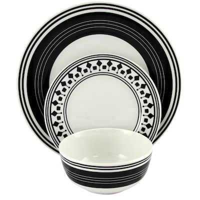 Gibson Home Classic Melody 12 Piece Ceramic Dinnerware Set Black And White 116928.12