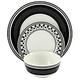 Gibson Home Classic Melody 12-Piece Ceramic Dinnerware Set Black and White 116928.12