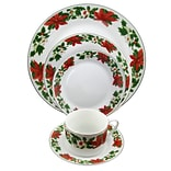 Gibson Home Poinsettia Holiday 20-Piece Ceramic  Dinnerware Set  White/Red/Green 94706.20