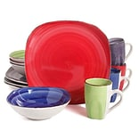 Gibson Color Vibes 12-Piece Stoneware Dinnerware Set Assorted Colors