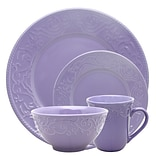Elama Lilac Fields 16-Piece  Stoneware Dinnerware Set Purple ELM-LILAC-FIELDS