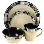 Gibson Elite Casa Estebana 16-Piece Stoneware Dinnerware Set Blue and Cream 118331.16