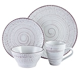 Elama Malibu Waves 16-Piece Stoneware Dinnerware Set Shell ELM-MALIBU-SANDS