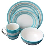Gibson Sunset Stripes 16-Piece Stoneware Dinnerware Set Teal 95852.16