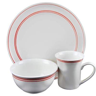 GIbson Home Porto 12-Piece Ceramic Dinnerware Set  White with Red Bands 116999.12
