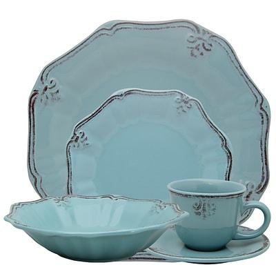 Elama Fleur De Lys 20-Piece Stoneware Dinnerware Set Turquoise ELM-FLEURDELYS-TURQUOISE  sc 1 st  Quill.com & Elama Fleur De Lys 20-Piece Stoneware Dinnerware Set Turquoise ELM ...