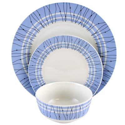 Gibson Home Classic Blue 12 Piece Ceramic Dinnerware Set White And Blue 116927.12