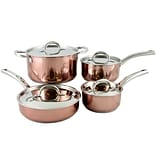 Oster Brookfield Stainless Steel 8-Piece Cookware Set, Copper and Platinum (104427.08)