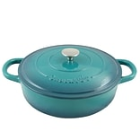 Crock-Pot Artisan Cast Iron 5 qt. Braiser Pan with Self-Basting Lid,  Teal Ombre (112002.02)